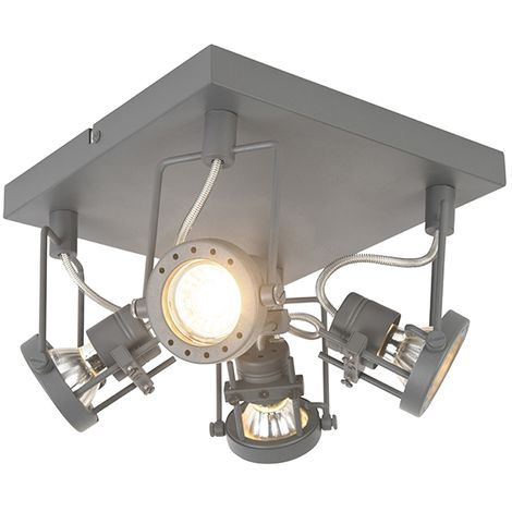 QAZQA Industrial Plafón industrial antracita orientable 4-luces - SUPLUX Metálica Cuadrada Adecuado para LED Max. 4 x 50 Watt