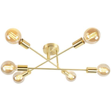 QAZQA Industrial Plafón industrial dorado 6-luces - SYDNEY BONDI Acero Otros Adecuado para LED Max. 6 x 40 Watt
