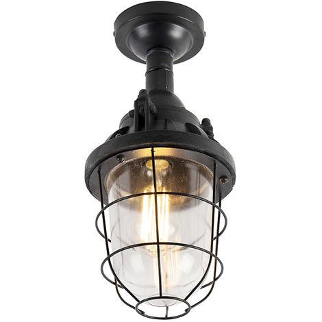 QAZQA Industrial Plafón industrial negro- CABIN Piedra/cemento /Acero /Vidrio Redonda Adecuado para LED Max. 1 x 40 Watt