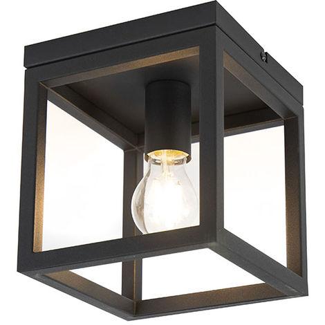QAZQA Industrial Plafón industrial negro - CAGE 1 Acero Cubo Adecuado para LED Max. 1 x 60 Watt