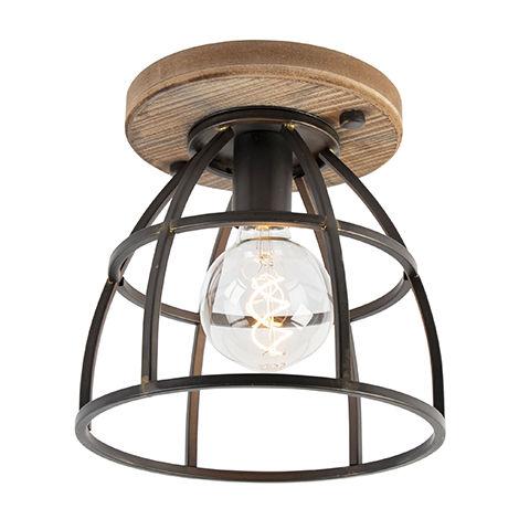 QAZQA Industrial Plafón industrial negro con madera - Arthur Acero / Redonda Adecuado para LED Max. 1 x 60 Watt