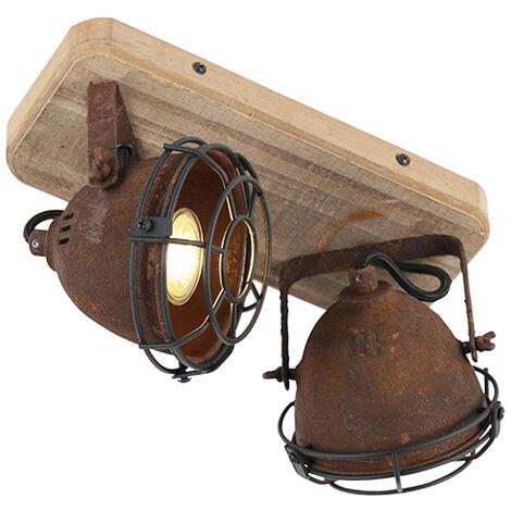 QAZQA + Industrial Plafón industrial óxido madera orientable 2-luces - GINA /Metálica Alargada Adecuado para LED Max. 2 x 25 Watt