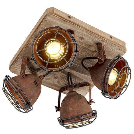 QAZQA Industrial Plafón industrial óxido madera orientable 4-luces - GINA /Acero Cuadrada Adecuado para LED Max. 4 x 25 Watt