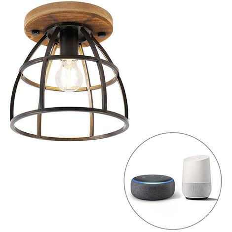 QAZQA + Industrial Plafón negro madera bombilla-WiFi-E27 - ARTHUR Acero / Redonda Adecuado para LED Max. 1 x 7 Watt