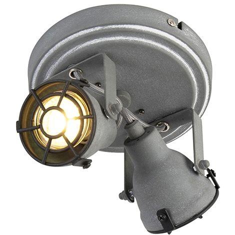 QAZQA Industrial Plafón robusto color hormigón 2 focos - MEDOX Metálica Redonda Adecuado para LED Max. 2 x 25 Watt