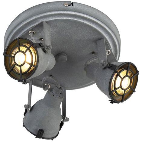 QAZQA Industrial Plafón robusto color hormigón 3 focos - MEDOX Metálica Redonda Adecuado para LED Max. 3 x 25 Watt