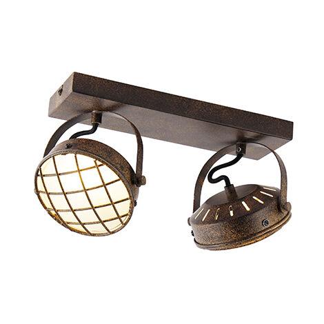 QAZQA Industrial Plafón vintage marrón óxido 2-luces - TAMINA Acero /Vidrio Alargada Adecuado para LED Max. 2 x 3 Watt