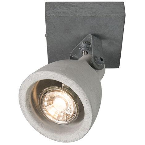 QAZQA Industrial Set 2 focos industriales color hormigón 1 luz - CRETO Piedra/cemento Redonda Adecuado para LED Max. 1 x 35 Watt