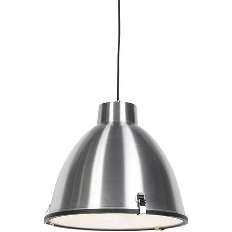 QAZQA Industrial Set 2 lámparas colgantes industriales aluminio 38cm - ANTEROS /Vidrio /Cuerda Redonda Adecuado para LED Max. 1 x 60 Watt