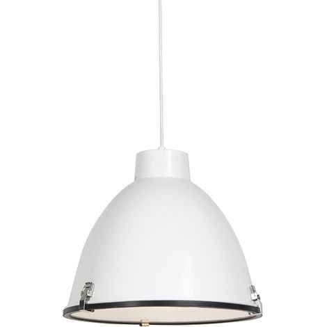 QAZQA Industrial Set 2 lámparas colgantes industriales blancas 38cm - ANTEROS Aluminio /Vidrio Redonda Adecuado para LED Max. 1 x 60 Watt