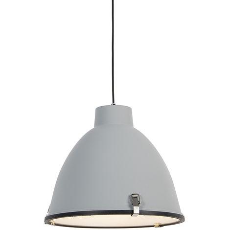 QAZQA Industrial Set 2 lámparas colgantes industriales gris 38cm - ANTEROS Aluminio /Vidrio Redonda Adecuado para LED Max. 1 x 60 Watt