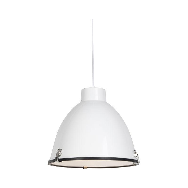 QAZQA Lampada a sospensione anteros - Industriale - Alluminio,Vetro - Bianco - Tondo Max. 1 x Watt