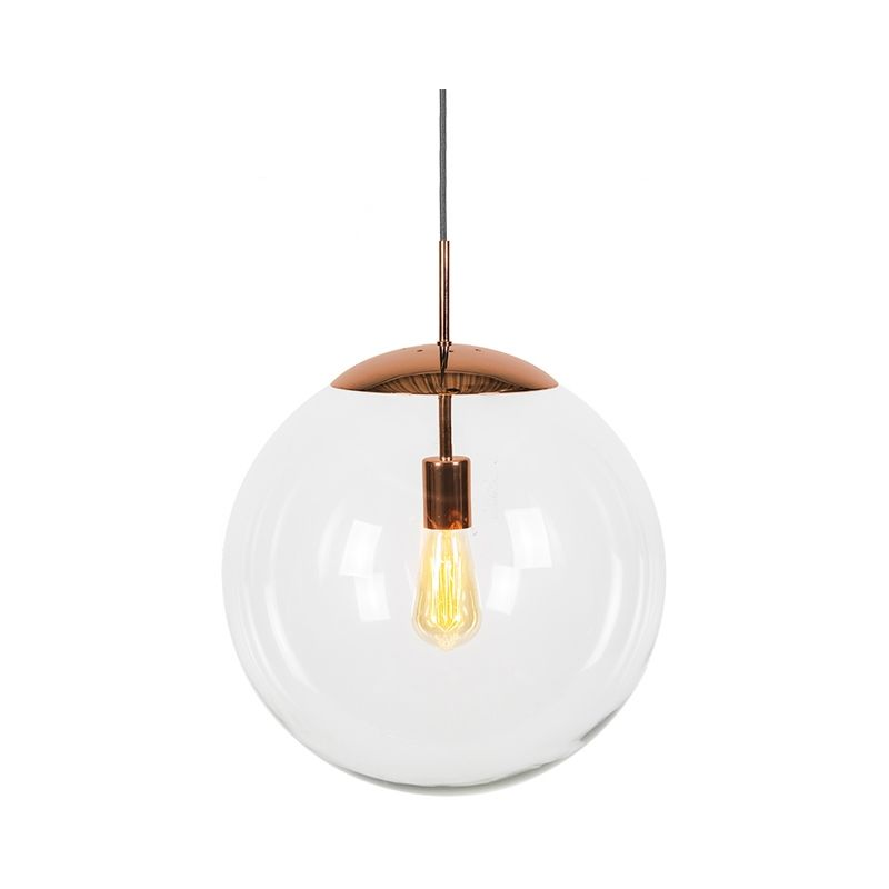 Lampada a sospensione ball - Moderno - Vetro,Acciaio - Trasparente/Rame - Sfera Max. 1 x Watt - Qazqa
