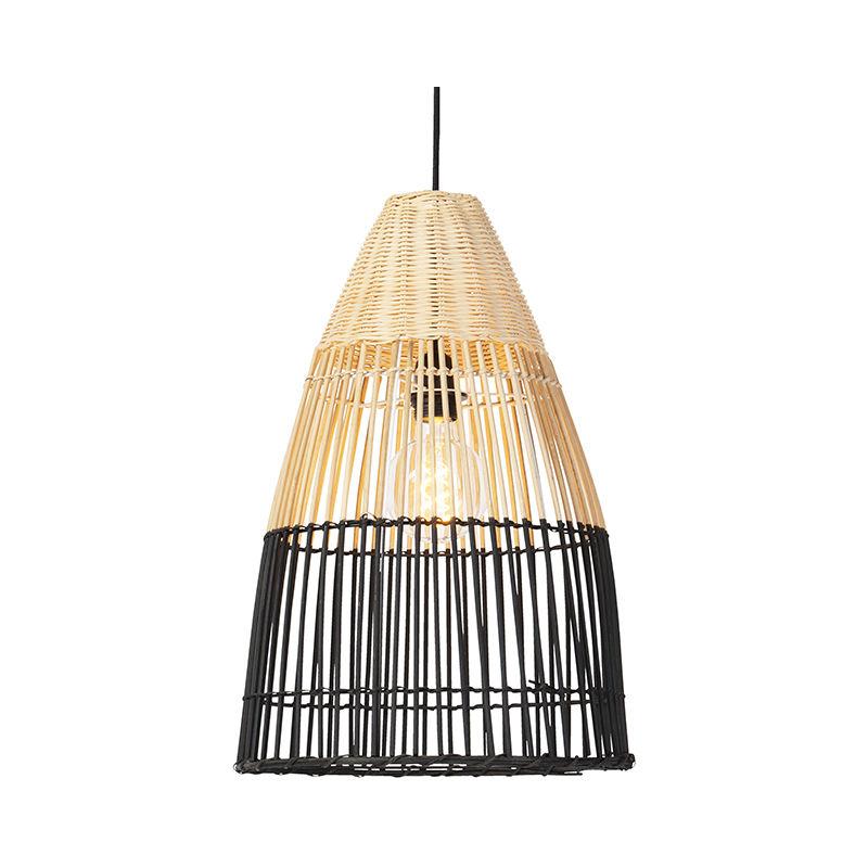 Lampada a sospensione bamboo - rustico - Bamboo - Nero/Marrone - Tondo Max. 1 x Watt - Qazqa
