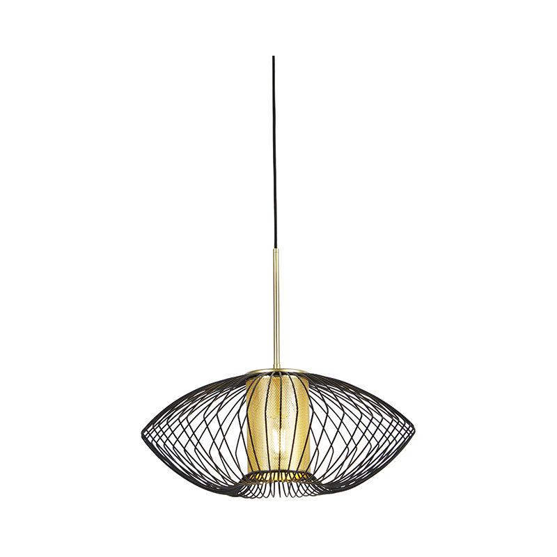 QAZQA Lampada a sospensione dobrado - Design - Acciaio - Nero/Oro/Ottone - Tondo Max. 1 x Watt