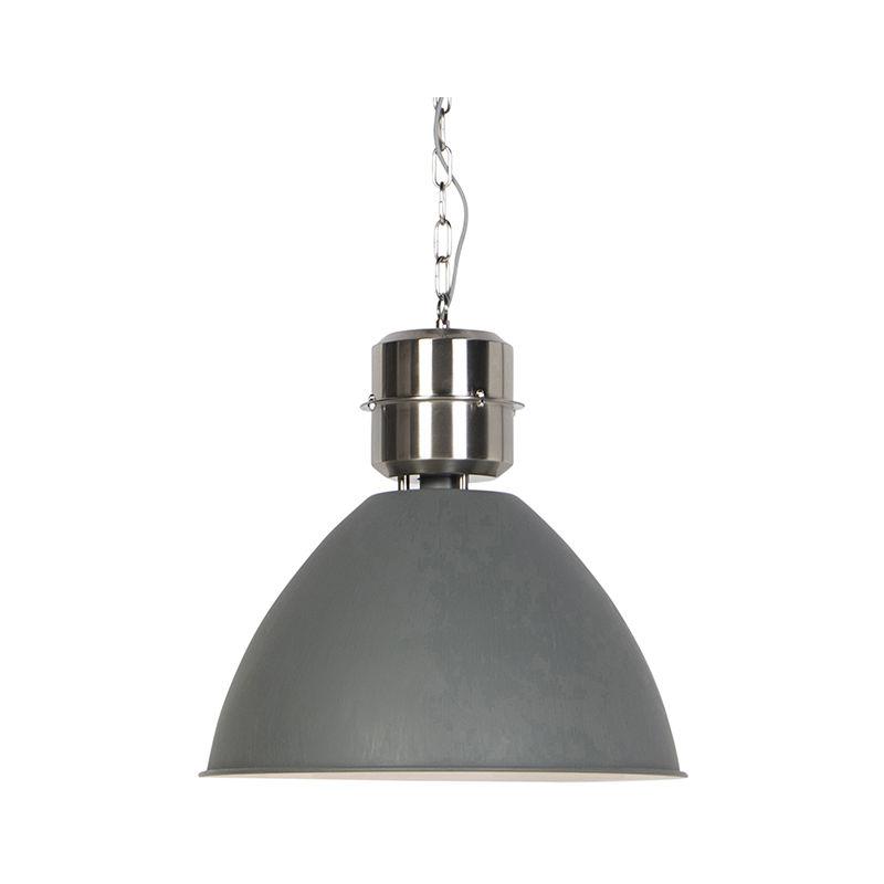 Lampada a sospensione flynn - Industriale - Acciaio - Grigio - Tondo Max. 1 x Watt - Qazqa
