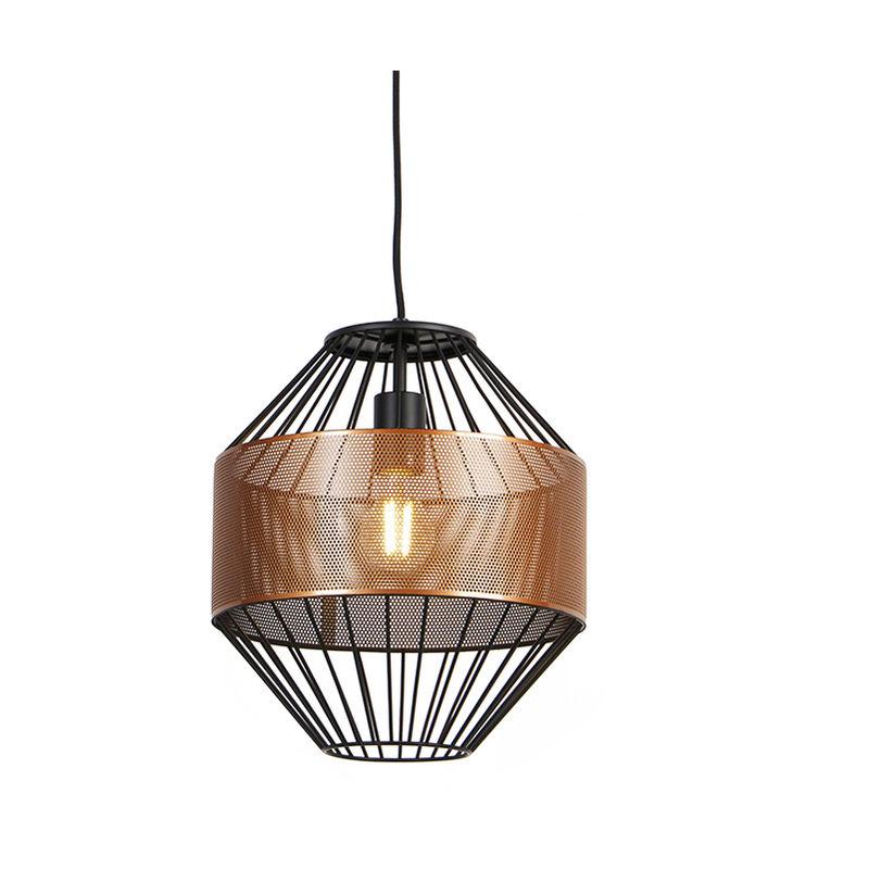 QAZQA Lampada a sospensione mariska - Design - Metallo - Rame/Nero - Tondo Max. 1 x Watt