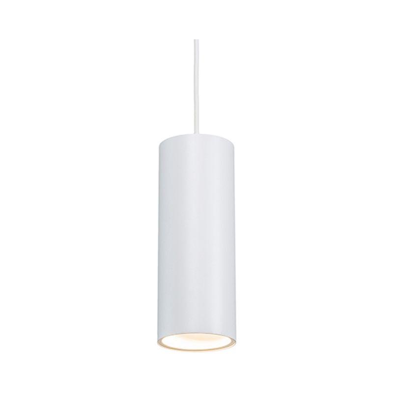 Lampada a sospensione minimalista Tubo - Design - Alluminio - Bianco - Cilindro Max. 1 x Watt - Qazqa