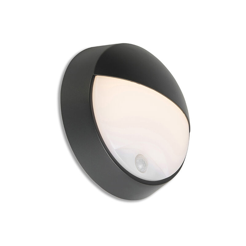 Lampada da esterno con sensore di movimento hortus - Moderno - Plastico - Nero - Tondo Non sostituibile Max. 1 x 10 Watt - Qazqa