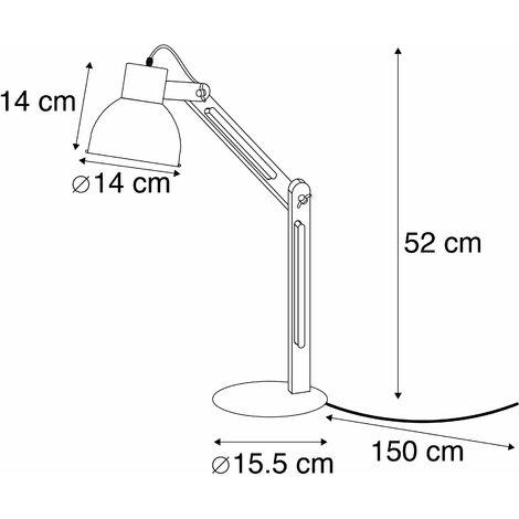 QAZQA Lampada da lavoro woodi - Moderno - Legno,Acciaio - Legno/Nero - Tondo Max. 1 x Watt - 93573