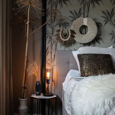 QAZQA Lampada da tavolo dome - Design - Vetro,Acciaio - Nero - Cilindro Max. 1 x Watt - 102218