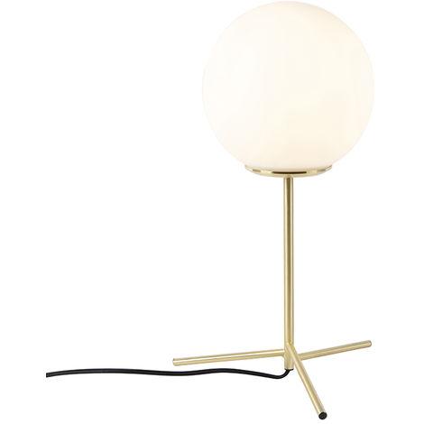QAZQA Lampada da tavolo pallon - Art déco - Vetro,Acciaio - Oro/Bianco - Sfera Max. 1 x Watt