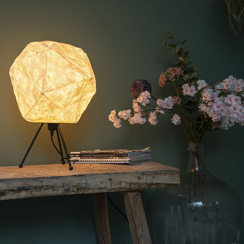 QAZQA Lampada da tavolo pepa - Moderno - Carta,Acciaio - Bianco/Nero - Sfera Max. 1 x Watt