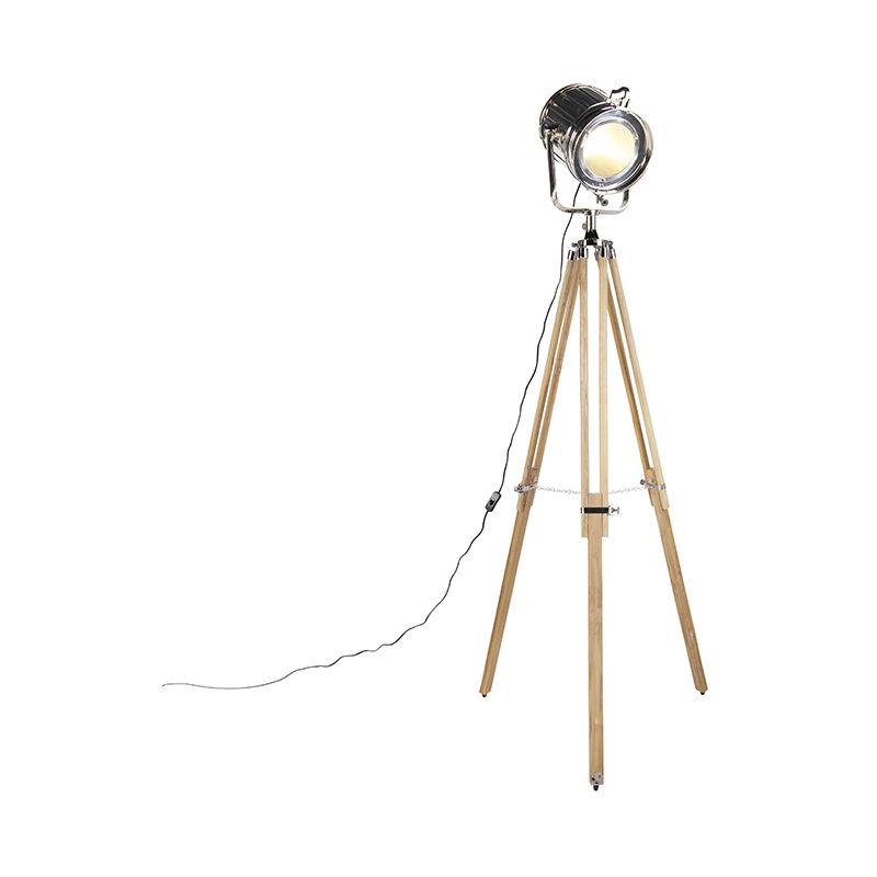 QAZQA Lampada da tavolo tripode construct - Industriale - Alluminio,Vetro,Legno - Marrone/Cromo - Tondo/Alltri Max. 1 x Watt