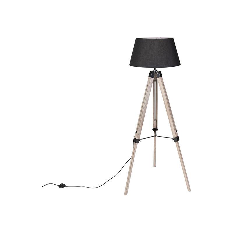 QAZQA Lampada da tavolo tripode rio fl - Industriale - Legno,Tessuto - Nero/Marrone - Alltri Max. 1 x Watt