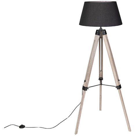 """main image of """"QAZQA Lampada da tavolo tripode rio fl - Industriale - Legno,Tessuto - Nero/Marrone - Alltri Max. 1 x Watt"""""""