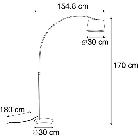 QAZQA Lampada da terra arco arc - Moderno - Tessuto,Acciaio - Nero - Tondo Max. 1 x Watt - 91643