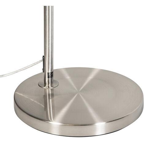 QAZQA Lampada da terra arco arc fl - Moderno - Tessuto,Acciaio - Grigio/Acciaio - Tondo Max. 1 x Watt - 91642