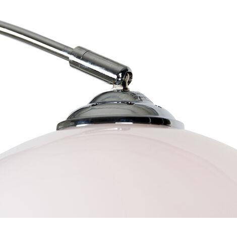QAZQA Lampada da terra arco arc - Moderno - Plastico,Acciaio - Bianco/Cromo - Tondo/Sfera Max. 1 x Watt - 89324