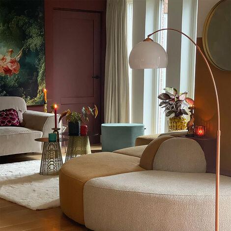 QAZQA Lampada da terra arco arc - Moderno - Plastico,Acciaio - Bianco/Rame - Tondo/Oblungo Max. 1 x Watt - 91644