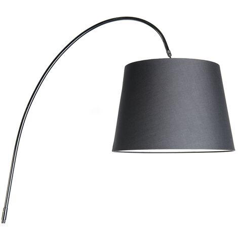 QAZQA Lampada da terra arco bend - Moderno - Pietra/calcestruzzo,Acciaio - Nero/Crema - Oblungo Max. 1 x Watt - 94752