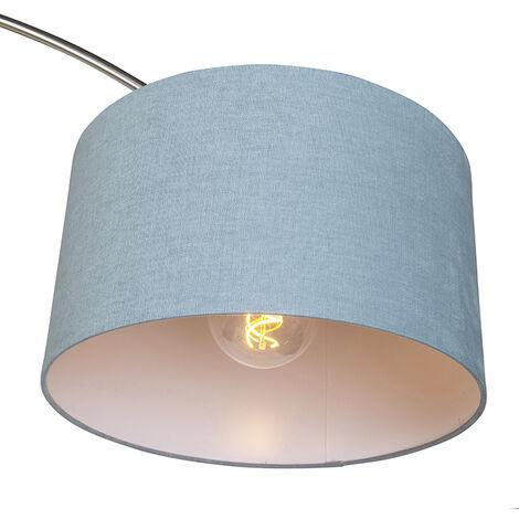 QAZQA Lampada da terra arco Satin - Moderno - Metallo,Tessuto - Acciaio/Blu - Alltri Max. 1 x Watt - 97475