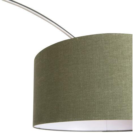 QAZQA Lampada da terra arco Satin - Moderno - Metallo,Tessuto - Acciaio/Verde - Alltri Max. 1 x Watt - 97472
