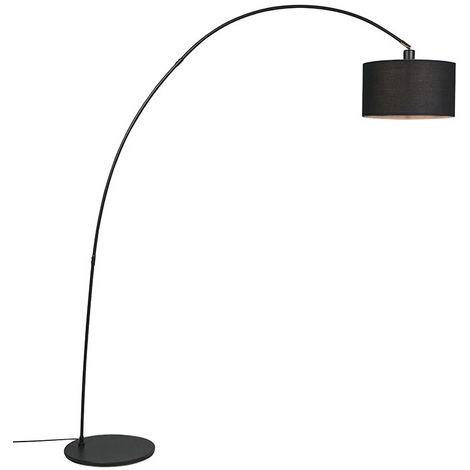QAZQA Lampada da terra arco vinossa fl - Moderno - Tessuto,Acciaio - Nero - Oblungo Max. 1 x Watt