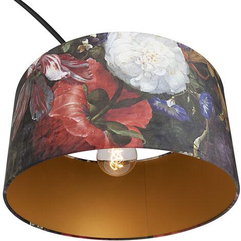 QAZQA Lampada da terra con paralume xxl - Moderno - Acciaio,Marmo,Tessuto - Nero/Verde/Rosso - Oblungo/Cilindro/Tondo Max. 1 x Watt - 98806