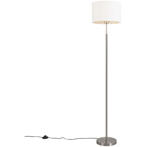 Acciaio//Blu 1 x 40 QAZQA Lampada da terra con braccio flessibile Luxor Tessuto,Acciaio Tondo Max Moderno