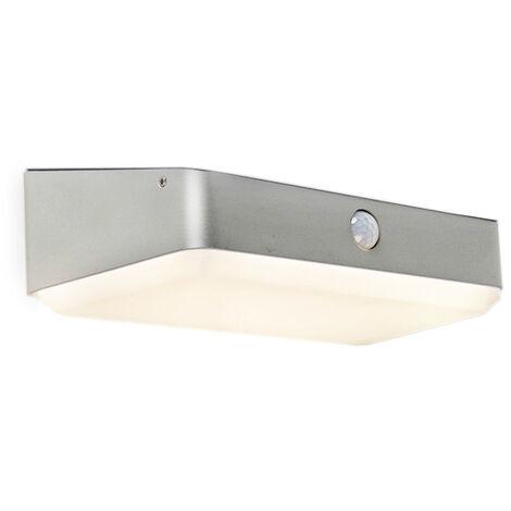 QAZQA Moderne Lampe d\'extérieur Blox LED à énergie solaire avec PIR ...