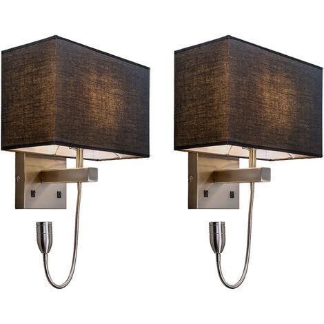 Applique De Moderne Autres Luminaire Set Jour Lumiere Noir 2 Intérieur Tissu Acier Éclairage Qazqa acier Métal Bergamo Noir Murales Abat erxdCBo