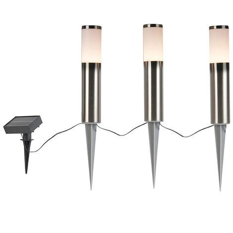 QAZQA Moderno Acero perforado con LED en conjunto de energía solar de 3 IP44 - Rox Plástico /Acero inoxidable Redonda /Alargada Incluye LED Max. 3 x 1 Watt