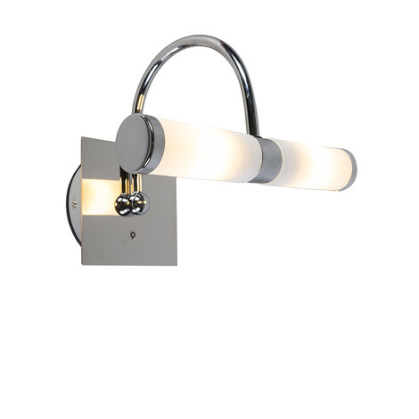 QAZQA Moderno Aplique clásico cromado IP44 - BATH 2 arco Vidrio /Metálica Cilíndra Adecuado para LED Max. 2 x 28 Watt