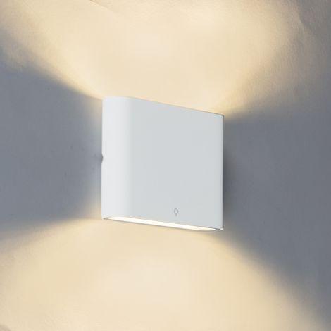 QAZQA Moderno Aplique de exterior moderno blanco 11,5 cm con LED - Batt Aluminio /Vidrio Otros Incluye LED Max. 2 x 6 Watt
