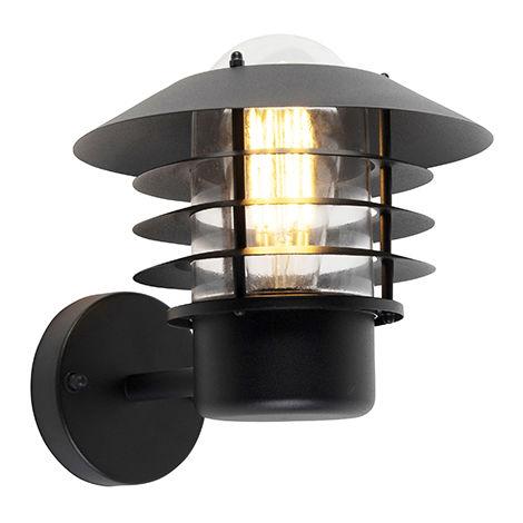 QAZQA Moderno Aplique de exterior moderno negro IP44 - Prato Up Aluminio /Acero /Vidrio Redonda Adecuado para LED Max. 1 x 60 Watt