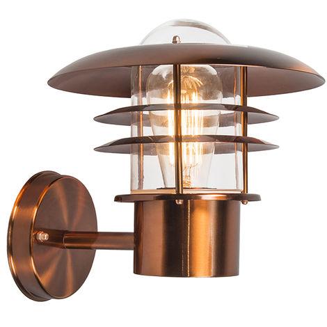 QAZQA Moderno Aplique de exterior vintage cobre IP44 - Prato Acero inoxidable /Vidrio Redonda Adecuado para LED Max. 1 x 60 Watt
