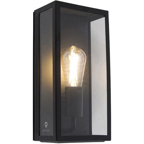 QAZQA Moderno Aplique industrial rectangular exterior negro con vidrio IP44 - Rotterdam /Acero inoxidable Rectangular Adecuado para LED Max. 1 x 59 Watt