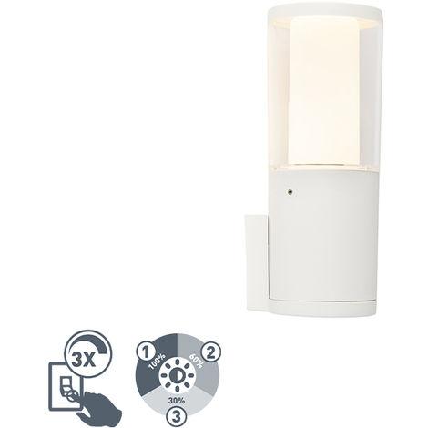 QAZQA Moderno Aplique moderna blanca IP55 GU10 regulable 3 niveles - CARLO Plástico Alargada Adecuado para LED Max. 1 x 3.5 Watt