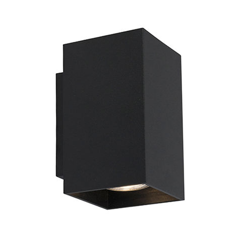 QAZQA Moderno Aplique moderno cuadrado negro - SANDY Acero Rectangular Adecuado para LED Max. 2 x 50 Watt